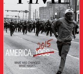 Time magazine cover with a photo from the civil rights