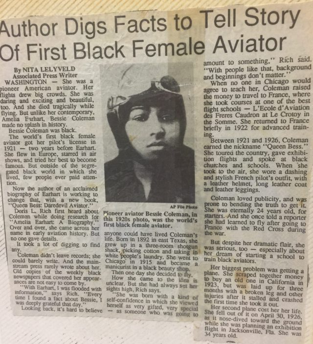 photo of a AP news article Author Digs Facts to Tell Story Of First Black Female Aviator by Nita Lelyveld dateline Washington DC
