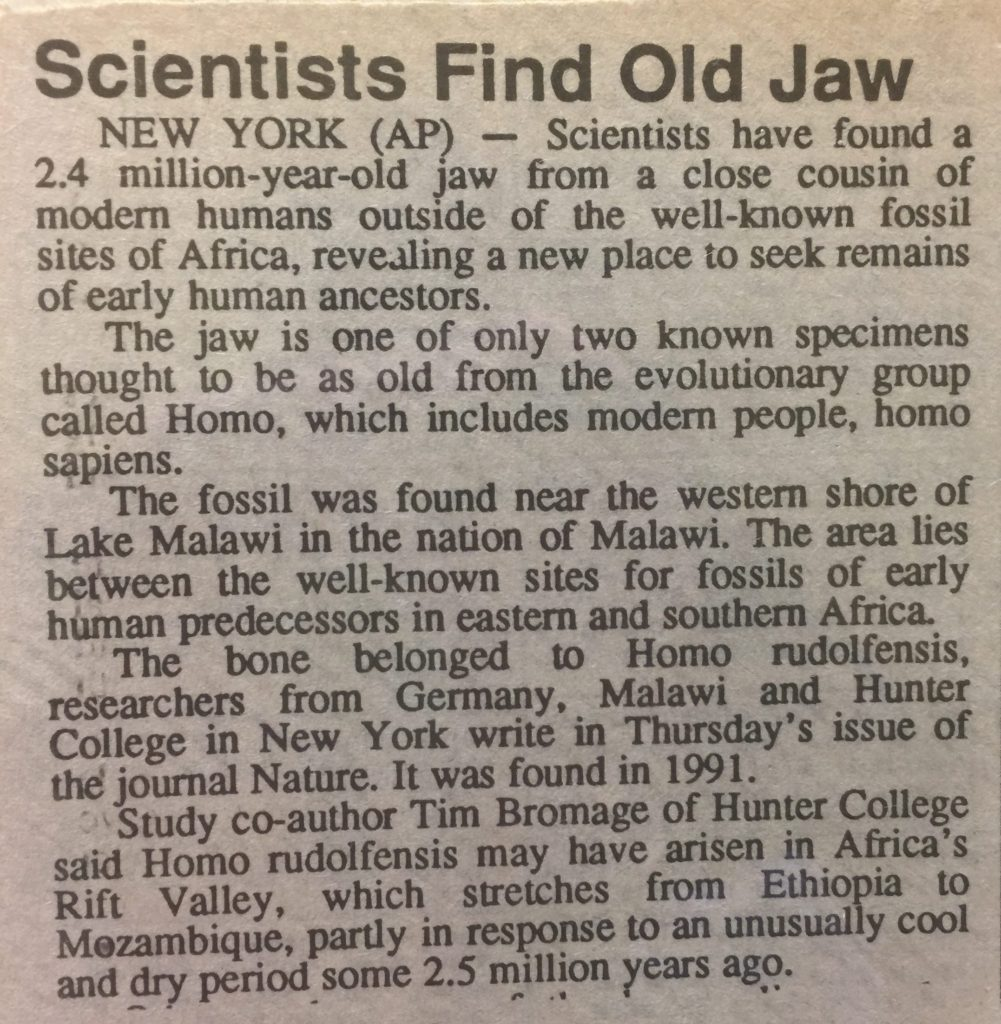 Photo of AP News Article Dateline New York Scientists Find Old Jaw