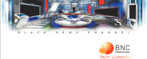 illustration of black news channel news studio